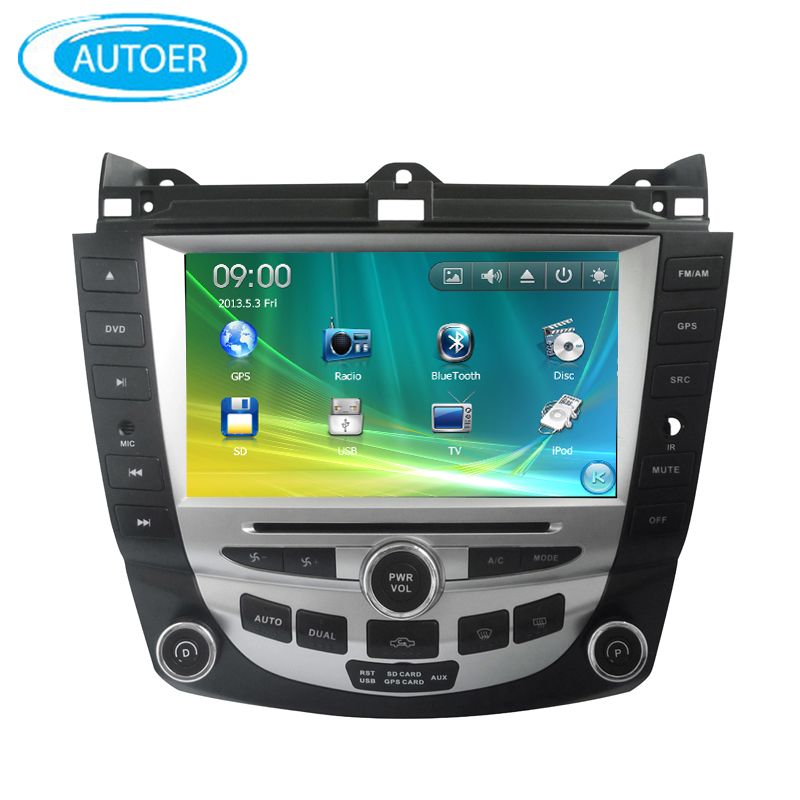 "8"" screen 2 DIN Car DVD GPS Radio stereo for Honda Accord 7 with steering wheel control bluetooth USB DVD player free map(China (Mainland))"