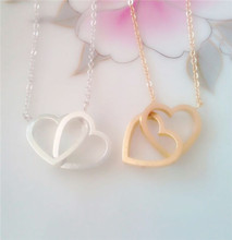 2015 Gold Silver Wedding Jewlery Double Heart Infinity Interlock Stainless Steel Fashion Necklace for Women