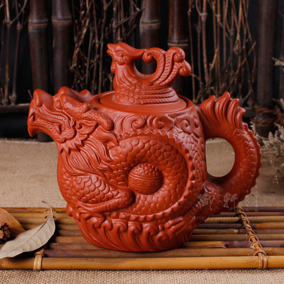 Large capacity yixing hand half a pot are recommended Large ore clay teapots ceramic kettle kung fu zhu flower pot(China (Mainland))