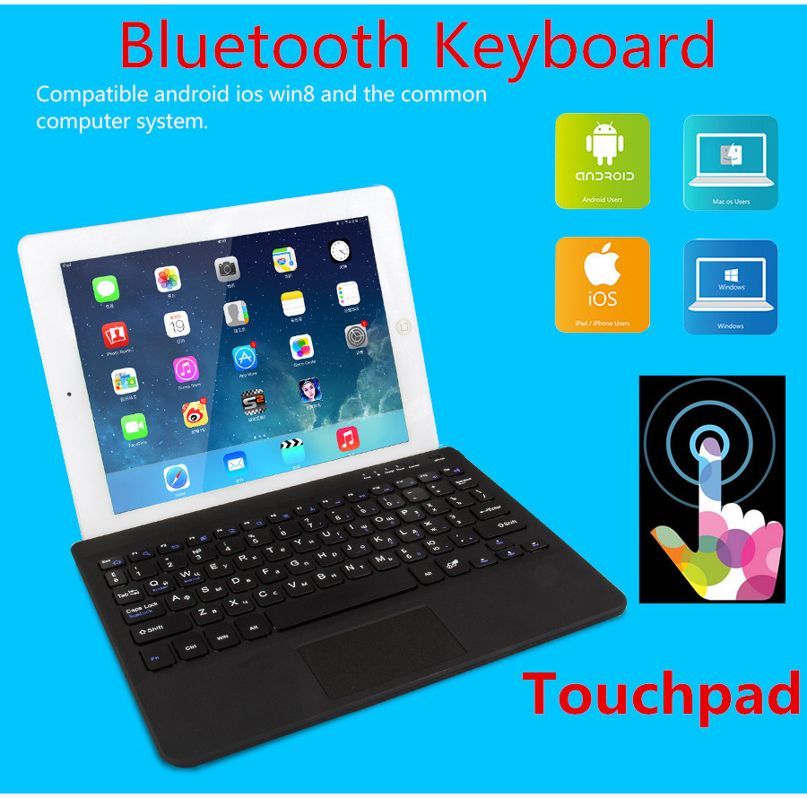 New Wireless Mini Bluetooth Keyboard Russian English Qwerty Keyboard Touchpad For Ipad Tablet Pc Gaming Keyboard For Mac Laptop(China (Mainland))