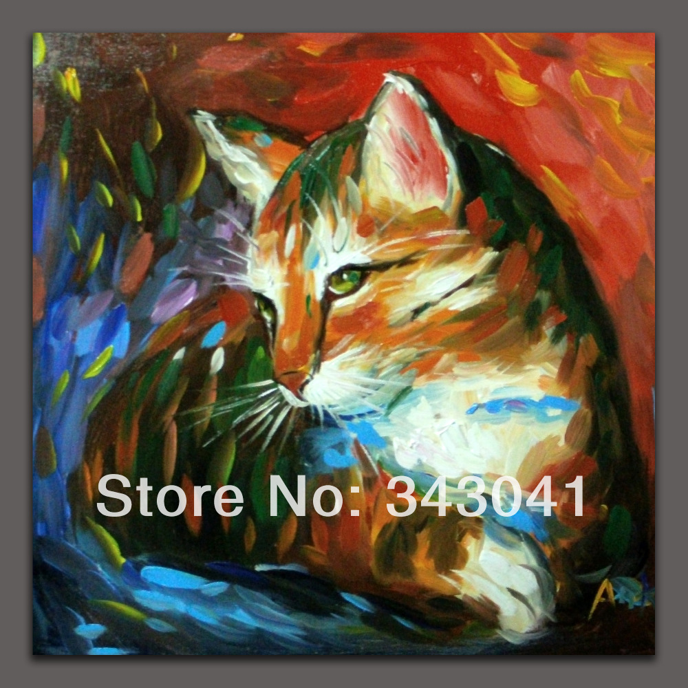 FREE SHIPPING Original Abstract Art Oil Painting CAT On Canvas16*16inch SINGED(China (Mainland))