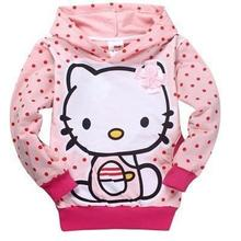 2015 Kids Hoodie Kitty KT Cat cartoon Minnie long-sleeved girls t-shirt casual sweater hoodie children's clothing free shipping(China (Mainland))
