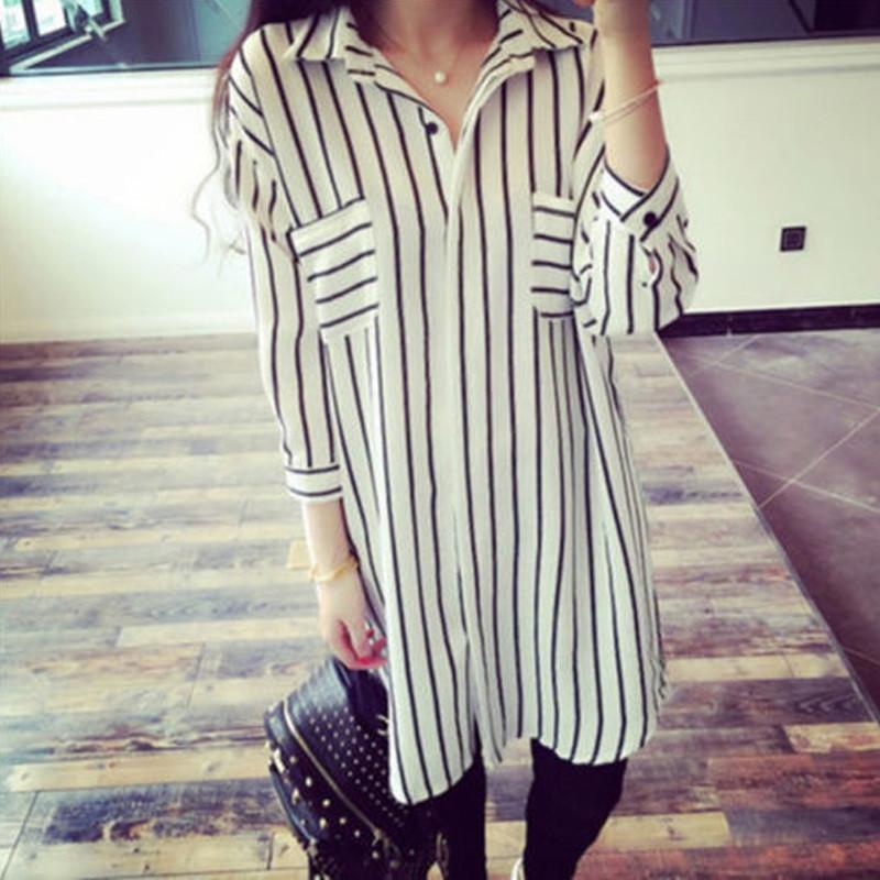 Women Stripe Shirt Casual Chiffon 3/4 Sleeve Long Blouse Jumper Tunic Dress Top