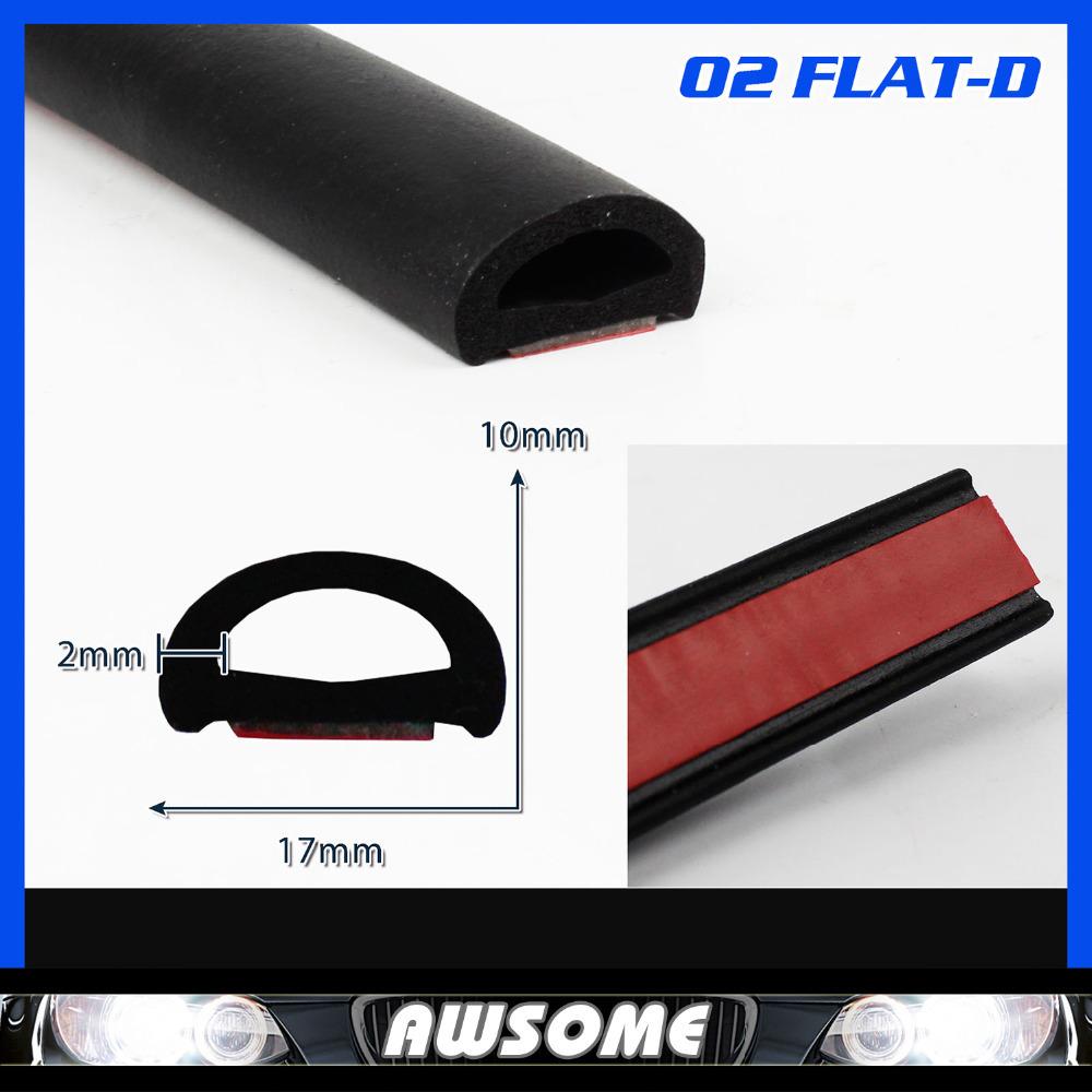 "118"" 300cm Flat D Shape pillar 17mmx10mm BLACK Edge Trim Seal Rubber Car Interior Exterior Noise Sound Insulation Weatherstrip(China (Mainland))"