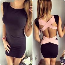 Plus Size Limited New 2016 Summer Dresses Sexy Backless Dress Bandage Black/white Women Free Shipping Vestidos Robes(China (Mainland))