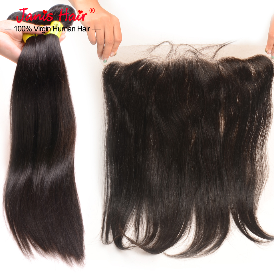 Lace Frontal Closure With Brazilian Virgin Hair Bundles Silk Straight Brazilian Virgin Hair With 13*4 Ear To Ear Lace Closure(China (Mainland))