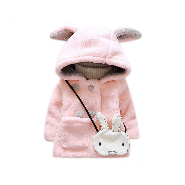 2017 осень зима девочка пальто хлопка девочка теплый пальто мультфильм уши толстые девушки куртка новорожденных верхняя одежда GC160 Ребенка пальто