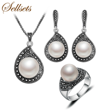 Sellsets New Fashion Teardrop Design Imitation Pearl And Rhinestone Jewelry Set Vintage Silver Color Jewellery Sets For Women(China (Mainland))