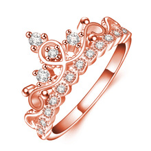 Buy Romantic Design Crown Shaped Rose Gold Color Rings High AAA Cubic Zirconia Filled Shiny Charming Ring Jewelry Accessory for $1.45 in AliExpress store