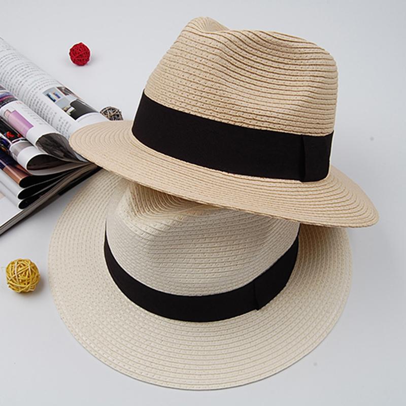 2015 Fashion High Quality Men Fedora with Black Ribbon Beige Camel Unisex Women Summer Autumn Sun Beach Straw Chapeu Panama Hat(China (Mainland))