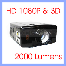 2000 LUMENS Digital Home Theater 3D Projector 1080P HD Video HDMI USB LCD LED Projector(China (Mainland))