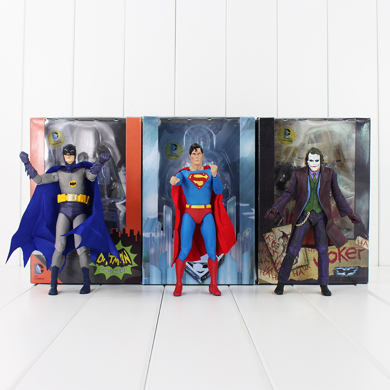 """3Styles NECA Series Super Hero Superman VS Batman VS The Joker PVC Action Figure Toys Dolls Collections Gifts For Kids 7"""" 18CM(China (Mainland))"""