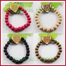 12pcs /lots hot sale Good wood hiphop hip-hop one love heart  fashion bracelets wholesale  4 colors mixed(China (Mainland))