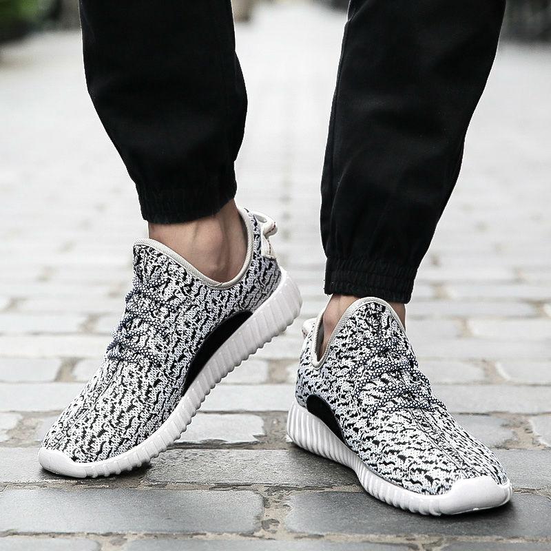 2016 новый мужчины и женщины свободного покроя обувь мода дышащей обуви серый черный шнуровкой на плоской подошве Большой размер нет логотипа