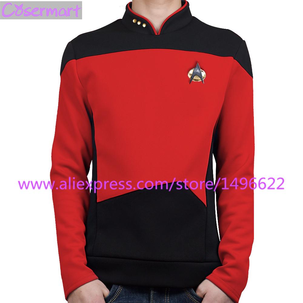 Star Trek TNG The Next Generation Red Yellow Blue Shirt Uniform Cosplay Costume For Men Coat Halloween Party