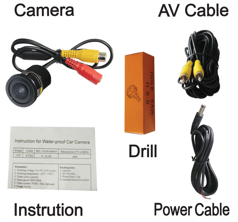 406 universal car rearview camera backup system suit for any monitor ,GPS,DVD on any cars waterproof night vision(China (Mainland))