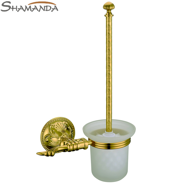 Free shipping bathroom accessories brass zinc gold for Gold toilet accessories