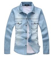2015  European Style Men's Long Sleeve Slim Jeans Shirt Fashion Jeans Denim Shirt  MCL139