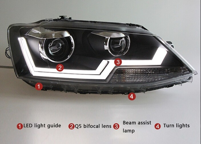 Auto Clud 2011-2014 For vw jetta headlights For VW jetta MK6 head lamps LED light guide DRL car styling Q5 bi xenon lens parking
