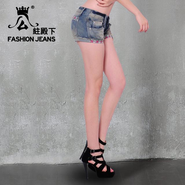 Princess summer fashion women's denim zipper shorts