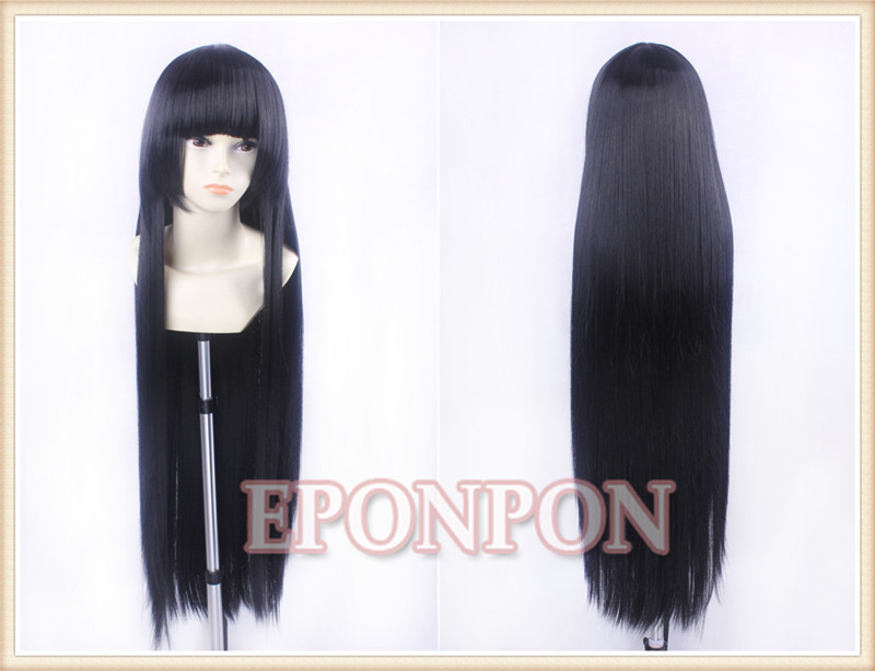 HELL GIRL Enma Ai Cheap Full Long Anime Cosplay Party Wig Black and a cap(China (Mainland))