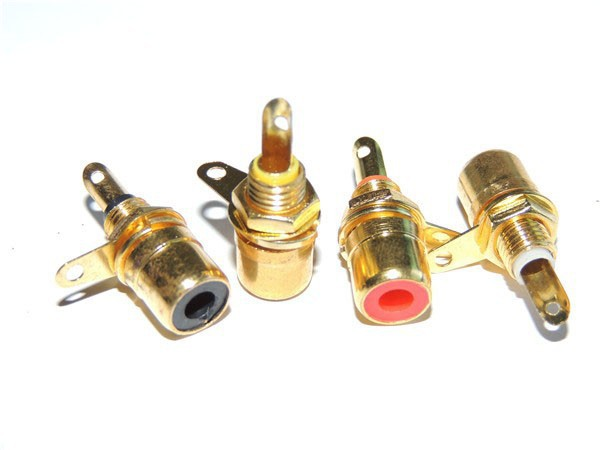 100 pcs RCA Phono Chassis Panel Mount Female Socket Metal adapter Gold plated(China (Mainland))
