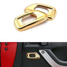 2Pcs/Pair ABS Gold Inner Door Handle Lock Switch Button Cover Trim Panel Fit Wrangler JK 2011-2015 Car Styling Mouldings - Auto Accessories store