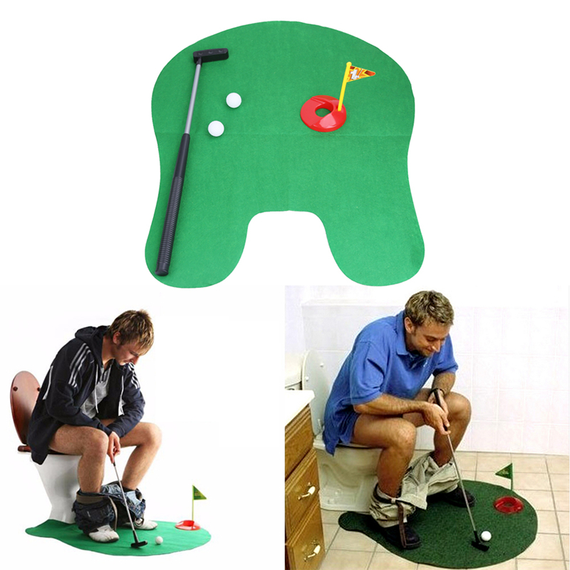 Potty Putter Toilet Golf Game Mini Golf Set Toilet Golf Putting Green Novelty Game Toy Gift for Men and Women(China (Mainland))