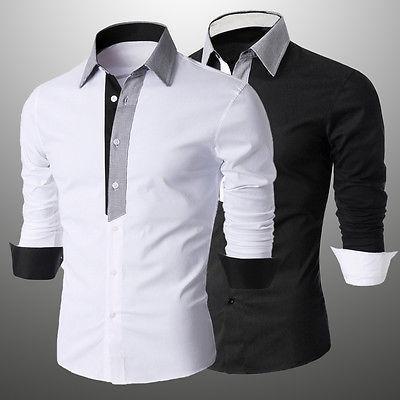 2016 New Men 3 Quater Sleeve Shirt Luxury Stylish Mens Printing Slim Fit Shirt Casual Shirts Mens Dress Shirts(China (Mainland))