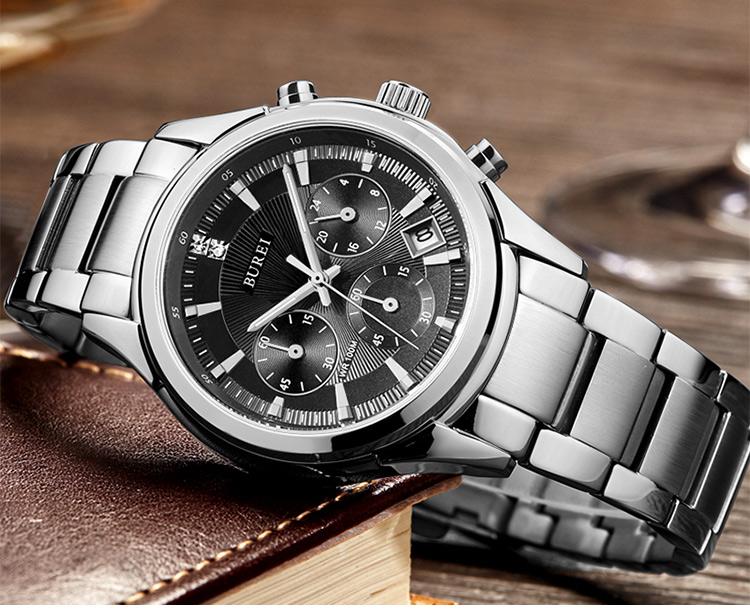 BUREI 2016 Мужчины Часы Из Нержавеющей Стали Кварцевые Водонепроницаемые Наручные Часы Аналоговые Авто Дата Роскошный Деловой Человек Часы Relojes Hombre