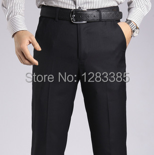 Wrinkle Free Easy Care Straight Men Suit Pants Work Wear Formal Black Pants Casual Mens Business Trousers Pantalones Hombre(China (Mainland))