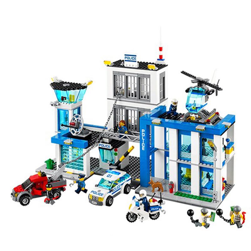 Bela City Police Station Building Block set Helicopter Car Motorbike policemen crook Minifigures Dog Toy Legoes 60047 Compatible(China (Mainland))