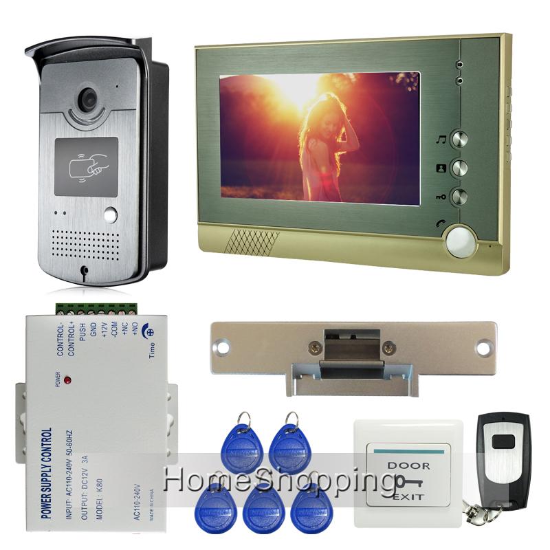 "FREE SHIPPING Home Doorphone Wired 7"" TFT Video Intercom Door Phone System 1 RFID Access Door Camera + 1 Monitor + Strike Lock(China (Mainland))"