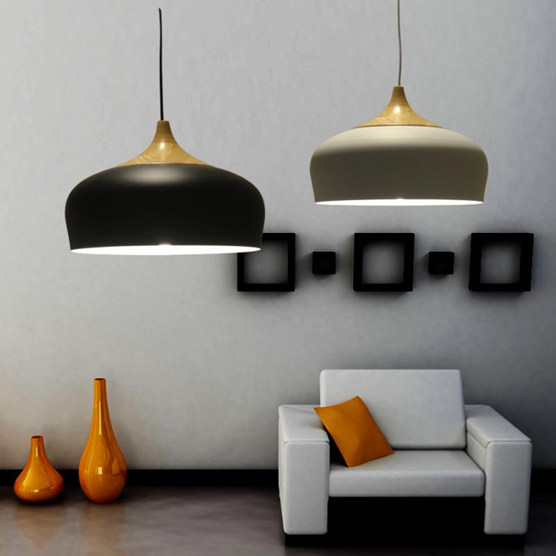 Northern Europe/IKEA Restaurant Pendant lights Modern Solid Wood/ oak plus Aluminum lampshade Matte Black and White Parlor Lamp(China (Mainland))