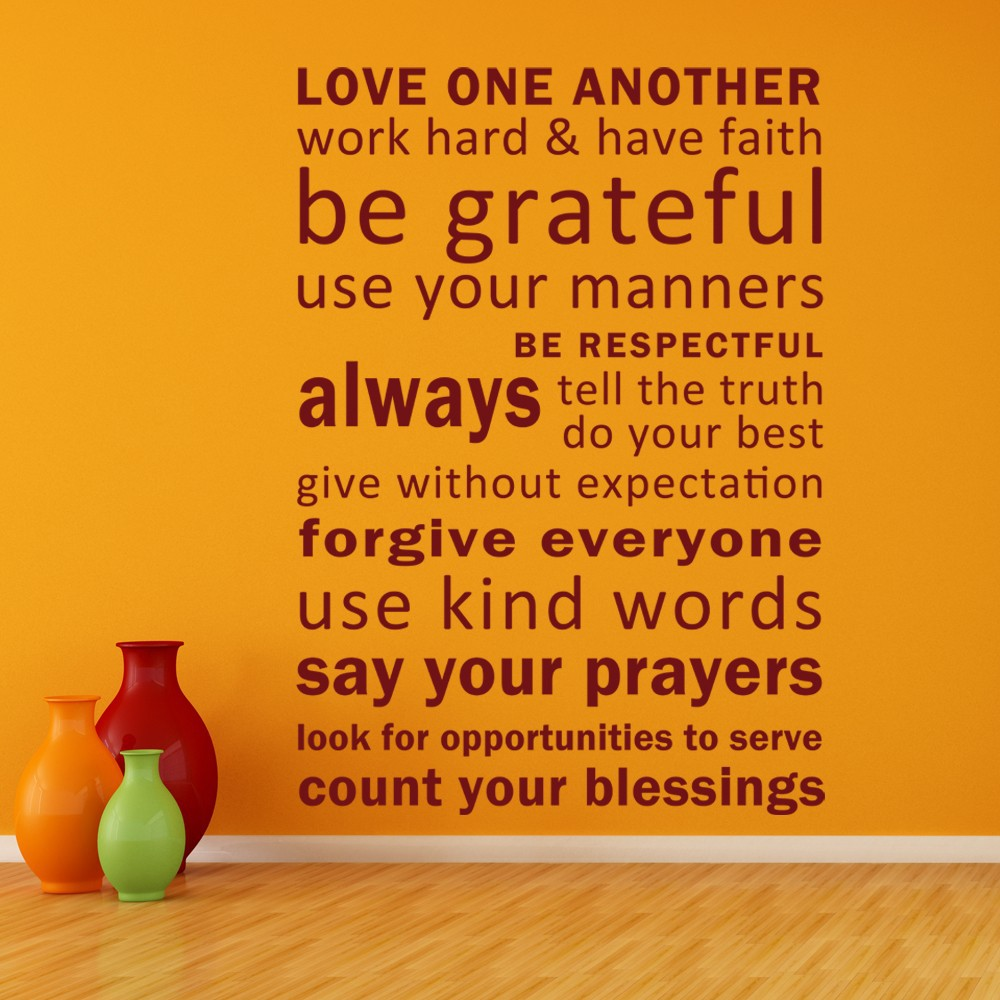 Love One Another, Have Faith, Be Grateful Vinyl inspirational Quotes ...