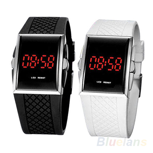 Men Women Casual Unisex White Black LED Digital Sports Wrist Watch Wristwatch Date Clock 1D4J