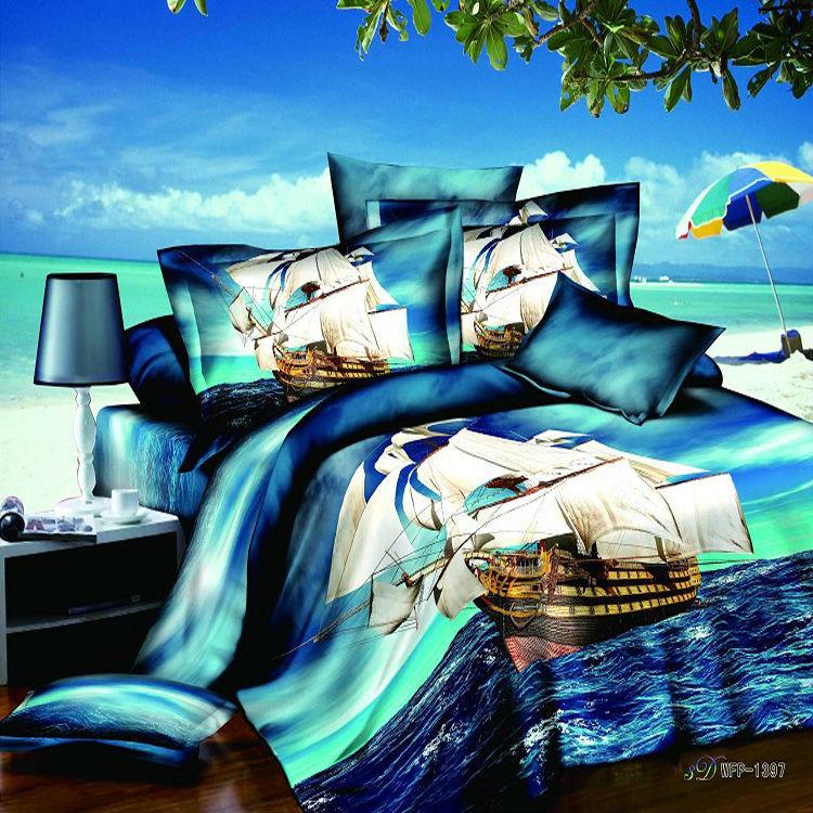 Ocean Sailing Reactive Printed 4pc Bedding Set Blue 3d