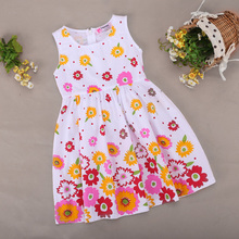 2016 New Hot Summer Children Clothing,Girls Floral Print Dress,2-9Y Baby Kids Clothes Cute Sleeveless Tutu High Quality Clear