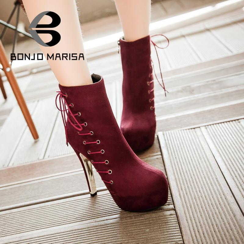 Large Size 33-42 Round Toe Zip Women Winter Ankle Boots Fashion Lace Up Design Platform Female Spiked Thick High Heels Shoes<br><br>Aliexpress