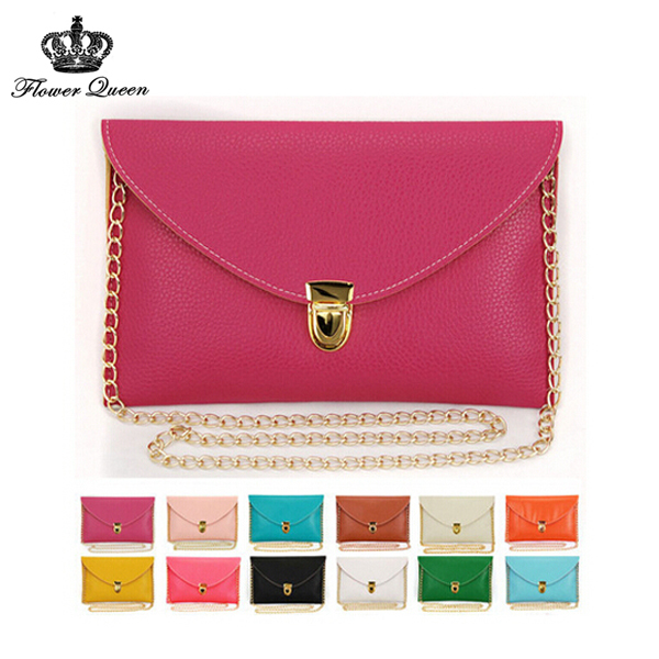 New 2015 lady Clutch bags Spring Summer Candy Color woman Envelop bags Chain woman messenger Documents bag woman shoulder bags(China (Mainland))