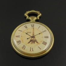 Buy 10pcs/pack Antique Bronze Alloy Clock Necklace Pendant Charms Jewelry finding necklace fine jewelry making 35*25*2mm 38308 for $2.40 in AliExpress store