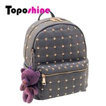 Toposhine 2016 PU Leather Rivet Women Backpacks Solid Bear Colorful Women Shoulder Bag for Women Girl Backpacks 3 Colors 8804(China (Mainland))