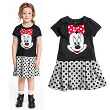 Cartoon Minnions Cute Minnie Mouse Dresses Costume Princess Girls Kids Clothes Toddlers Baby Summer Outwear 2 3 4 5 6 7 Years