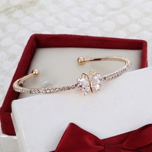 New Arrival Romantic Butterfly Design Cuff Bracelet High Quality Golden Plated Wedding Bracelet Girl's Banquet Accessory (China (Mainland))