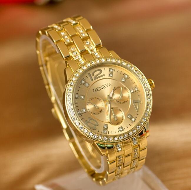 Fashion gold relogio feminino Geneva Watch Full Steel Women Rhinestone watches Ladies Quartz wristwatches fashion online shop(China (Mainland))