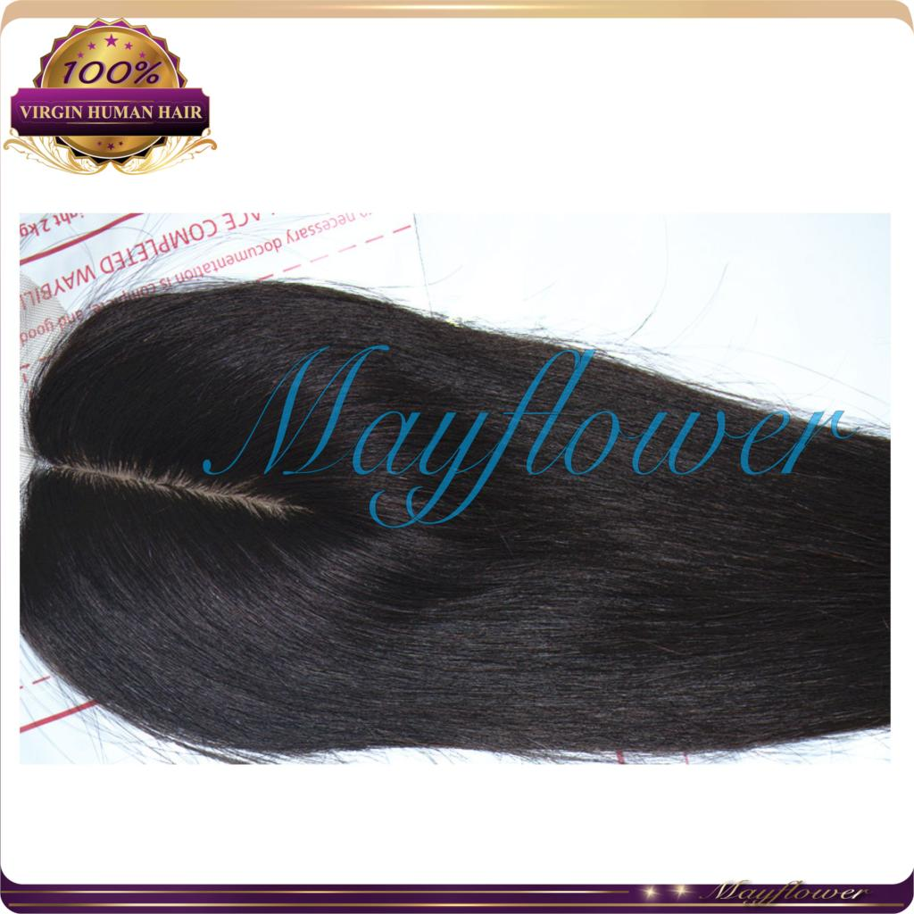 Natural middle parting silk closure virgin Mongolian straight hair closures 3.5x4 with baby hairs natural color(China (Mainland))