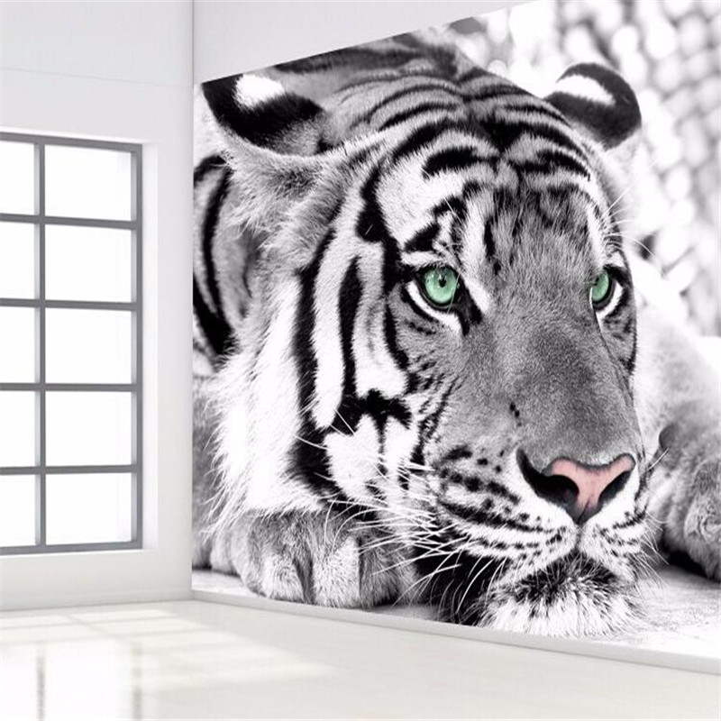 photo wallpaper Tiger black and white animal murals entrance bedroom living room sofa TV background wall mural wall paper(China (Mainland))