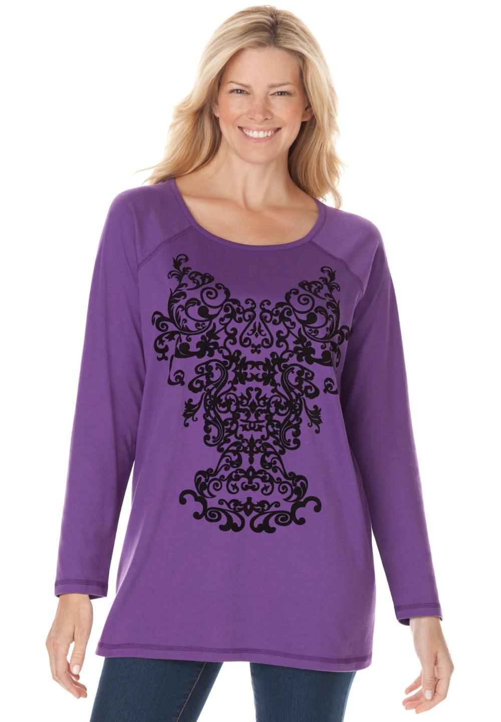 Xl 6xl Plus Size Women Velvety Print Knit Cotton Tunic Tee