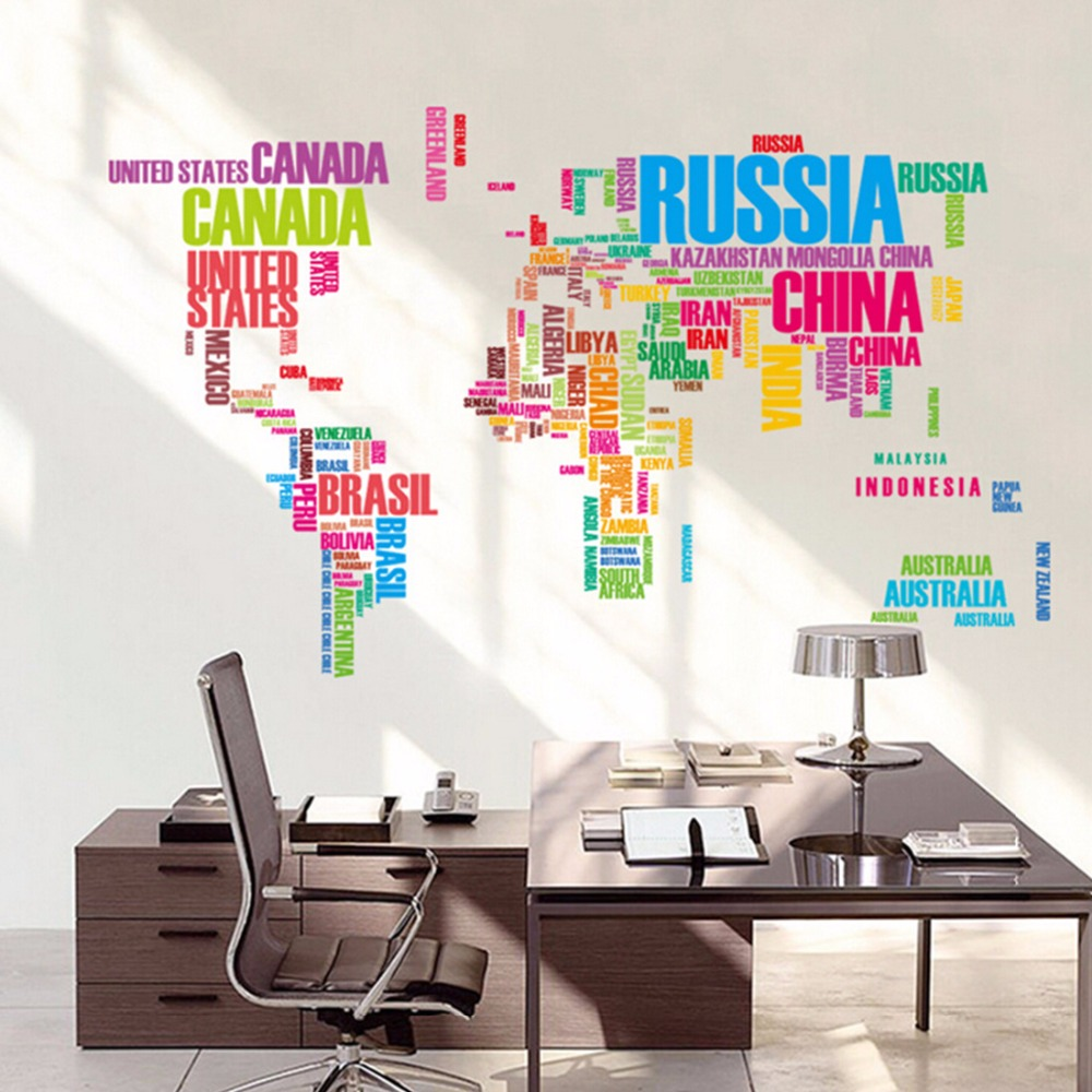 Beautiful Colorful letters world map wall stickers living room home decorations creative PVC decal mural art DIY office wall art(China (Mainland))