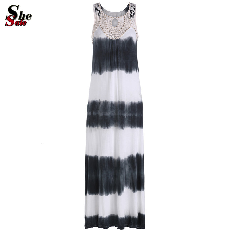 Casual Women Cheap Summer Beach Vestido Longo 2015 Black and White Striped Sleeveless Scoop Neck Shift Beading Maxi Dress(China (Mainland))